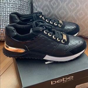 Bebe Sport black leather suede B logo sz 7